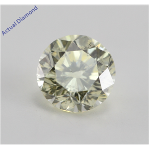 Round Cut Loose Diamond (0.79 Ct, Natural Light Canary Yellow, I1)