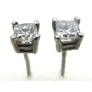 Princess Diamond Stud Earrings 14k  ( 0.53 Ct, G Color, SI2 Clarity)