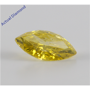 Marquise Cut Loose Diamond (1.03 Ct, Canary Yellow(Color Irradiated) ,SI3(Clarity Enhanced))