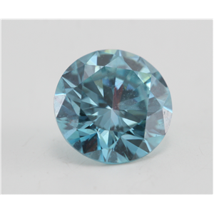 Round Cut Loose Diamond (0.72 Ct, Fancy Intense Blue(Irradiated) Color, VVS2(Clarity Enhanced)