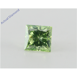 Princess Loose Diamond (1.01 Ct, Olive Green(Irradiated) Color, VVS2(Clarity Enhanced) Clarity) IGL Certified