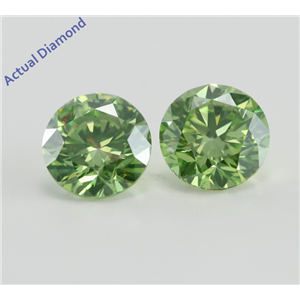 A Pair of Round Cut Loose Diamonds (2.08 Ct, Fancy Intense Olive Green (Irradiated) ,VVS1-VVS2(Clarity Enhanced)) IGL Certified