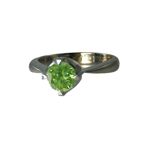 Round Diamond Solitaire Engagement Ring 14k White Gold 0.51 Ct, (Olive Green(Color Irradiated) Color, SI1(ClarIty Enhanced) Clarity)