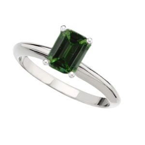 Emerald Diamond Solitaire Engagement Ring 14k White gold 1.4 Ct, Olive Green(Color Irradiated) , VS2(Clarity Enhanced)