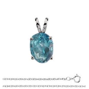Oval Diamond Solitaire Pendant Necklace 14k White Gold ( 1 Ct, Ocean Blue (Color Irradiated) Color, SI1(Clarity Enhanced) Clarity)