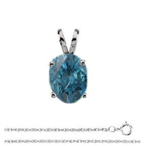 Oval Diamond Solitaire Pendant Necklace 14k White Gold ( 0.71 Ct, Nice Blue (Color Irradiated) Color, si1 Clarity)