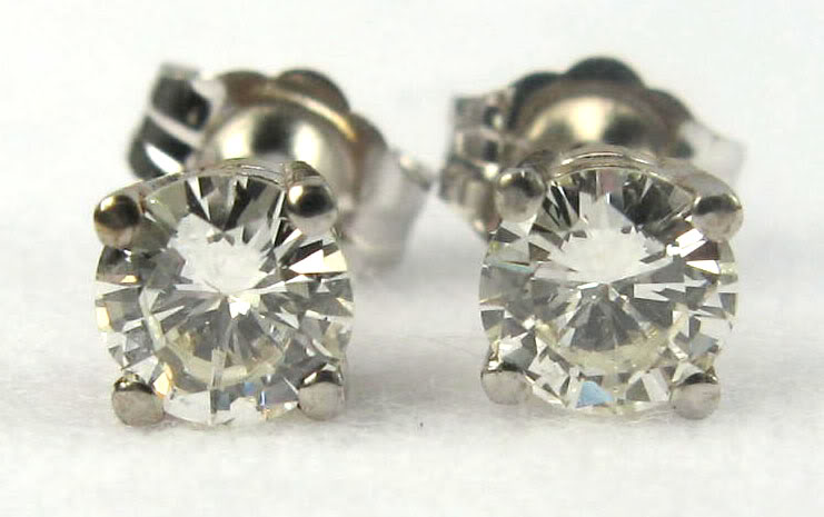 ear st set diamond solitaire earrings cut colored round stud color