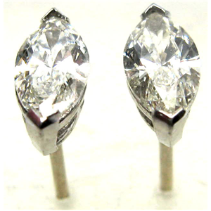 Marquise Diamond Stud Earrings 14k  ( 1.04 Ct, H Color, VS2 Clarity)