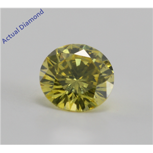 Round Cut Loose Diamond (0.53 Ct, Yellow(HPHT Color Treated), VVS1)