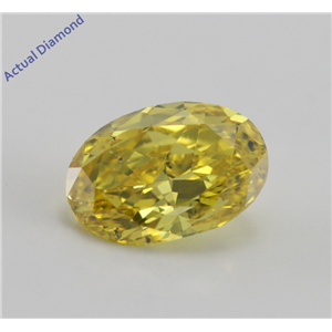 Oval Cut Loose Diamond (1.04 Ct, Canary Yellow (HPHT Color Treated), SI1)