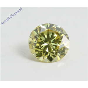 Round Cut Loose Diamond (0.62 Ct, Fancy Canary Yellow(HPHT Color Treated) Color, VVS2 Clarity) IGL Certified