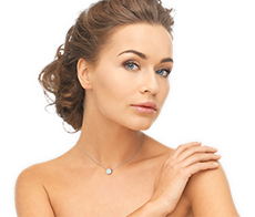 Model With A Beautiful CaratsDirect2u Solitaire Diamond Pendant Necklace