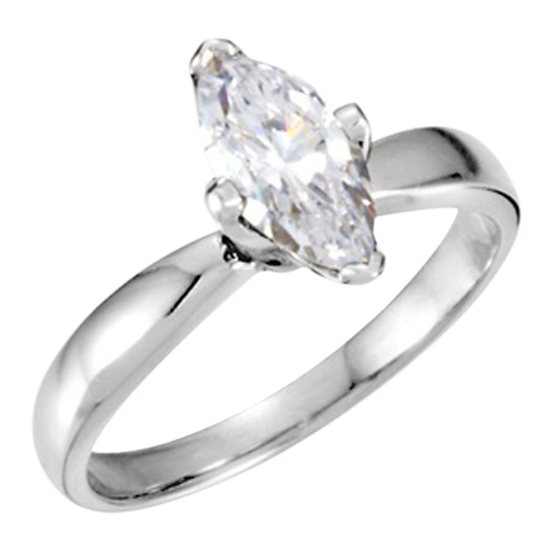 Marquise Cut 14k White Gold Engagement Ring 0.8ct SI, G Color