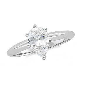 14k White Gold Pear Cut Diamond Solitaire Ring 1.01ct SI1 D Color