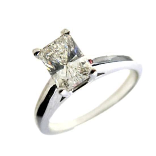 14k White Gold Diamond Radiant Cut Solitaire Engagement Ring, H Color, SI2
