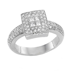 18k White Gold Invisible Setting Daimond Engagement Ring 0.81 ct