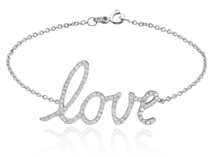 18K White Gold Fashion Love Bracelet with 0.4Ct, G Color, VS1 Clarity Diamonds