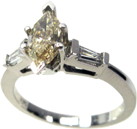 Stylish 14k 3-Stone White Gold Engagement Ring With 1.18 Carat Marquise Cut Yellow Center Stone, SI2 Clarity