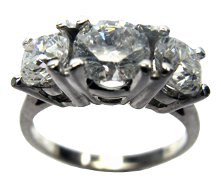 Unique 14k White Gold Round Diamond Engagement Ring With 3 Stones, 1Ct, H Color I2 Clarity