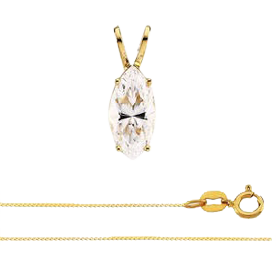 Marquise 14k Yellow Gold Diamond Pendant With 0.43 Carat Stone, F Color, VVS2 Clarity, EGl Certified