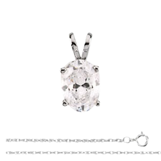 Lovely White Gold 14k Pendant Chain With Oval Solitaire Diamond 0.46 Carat, K Color, VS2 Clarity