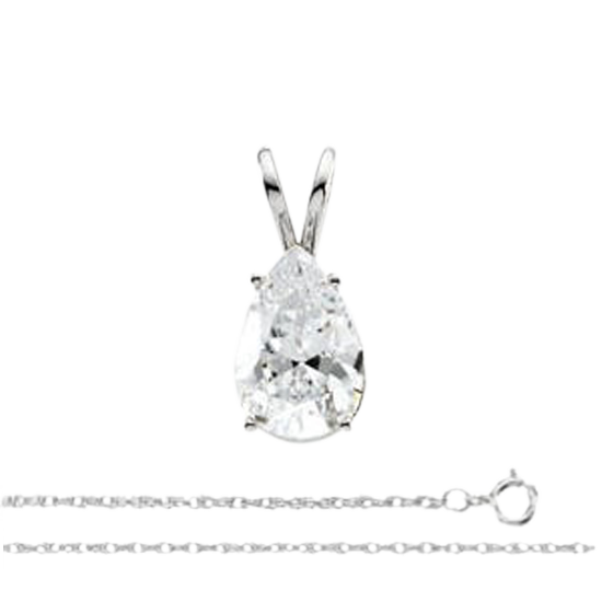 14k White Gold Pendant With Beautiful Pear Cut Solitaire Diamond, 0.74ct, I Color, I1 Clarity