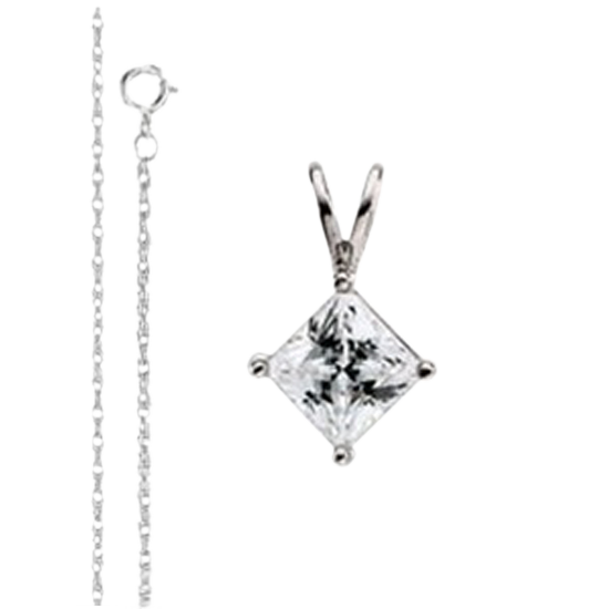 Princess Diamond Solitaire Pendant Necklace With 14k White Gold Chain, 0.5ct Stone, G Color