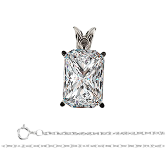 Lovely 14k White Gold Chain Necklace With a Radiant Cut Diamond, 1ct, I Color, VS1