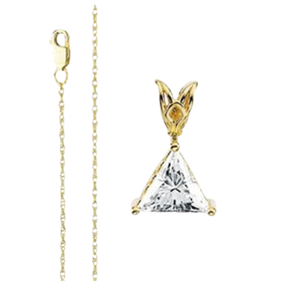 Lovely 14k Yellow Gold Chain With Trilliant Cut 1ct Diamond Solitaire, F Color