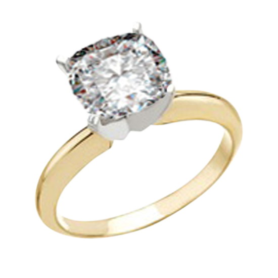 14k Yellow Gold Cushion Cut 1.05 carat Diamond Engagement Ring