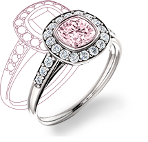 14K White Gold Ring with Natural Pink 1.54 Ct Center Stone and 0.10 Ct Round White Diamonds