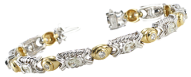 Oval Millennial Sunrise & Round Cut Bezel Setting Diamond Bracelet in 14K White and Yellow Gold(5.1ct, I-J, SI-VS)