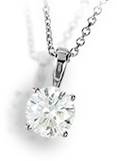 14k White Gold Pendant with 0.8 Carat VS1 Round Solitaire Diamond