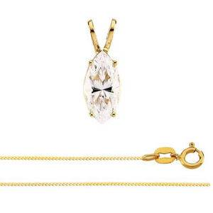 Natural Marquise 0.63 carat diamond solitaire pendant necklace with a 14k yellow gold snake chain and a spring-ring clasp
