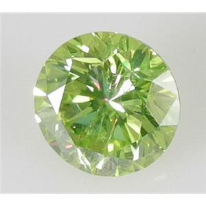 Round Cut Loose Diamond (1 Ct, Olive Green(Color Irradiated) ,SI1(Clarity Enhanced))style=