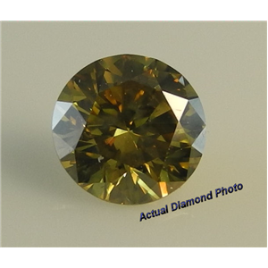Round Cut Loose Diamond (1.2 Ct, Fancy Deep Brownish Yellow(Hpht Color Treated) ,SI3)