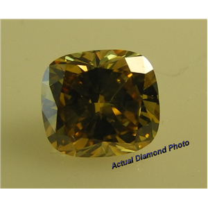 Cushion Cut Loose Diamond (1.02 Ct, Fancy Deep Brownish Yellow(Hpht Color Treated) ,VVS2)