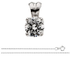 Round Diamond Solitaire Pendant Necklace 14K White Gold ( 1.26 Ct, I Color, I2(K.M) Clarity)