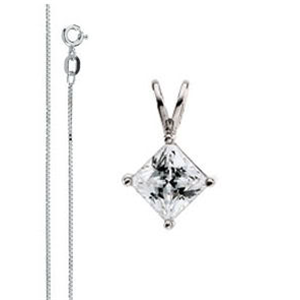 Princess Diamond Solitaire Pendant Necklace 14k White Gold ( 0.58 Ct, F, VS1 IGL Certified)