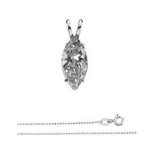 Marquise Diamond Solitaire Pendant Necklace 14K White Gold ( 1.03 Ct, H Color, I1 Clarity)