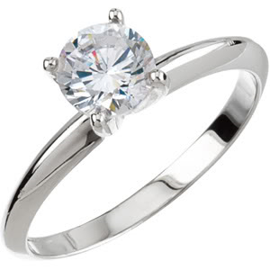 Round Diamond Solitaire Engagement Ring 14K White Gold 1.01 Ct, G , VVS2 GIA Certified