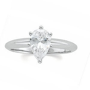 Pear Diamond Solitaire Engagement Ring 14k White Gold (1.02 Ct, I Color, VS2 Clarity) GIA Certified