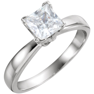 Princess Diamond Solitaire Engagement Ring 14k White Gold (0.48 Ct, D Color, SI1 Clarity) GIA Certified