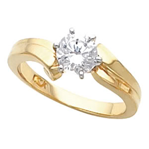 Round Diamond Solitaire Engagement Ring 14k Yellow Gold 0.49 Ct, (K Color, VS2 Clarity)