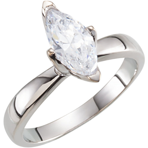 Marquise Diamond Solitaire Engagement Ring, 14k White Gold (0.46 Ct, E Color, SI1 Clarity) GIA Certified
