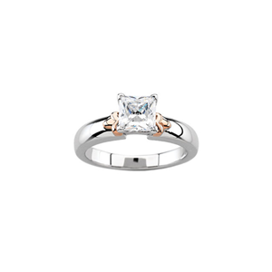 Princess Diamond Solitaire Engagement Ring, 14k Rose and white gold (0.5 Ct, F Color, I1 Clarity) IGL