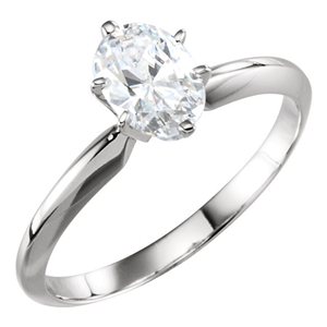 Oval Diamond Solitaire Engagement Ring, 14k White Gold (0.72 Ct, E Color, I1 Clarity) GIA Certified