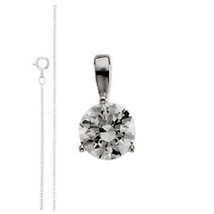 Round Diamond Solitaire Pendant Necklace 18k  ( 1 Ct, F-G Color, VS Clarity GIA Certified)