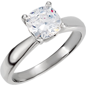 Cushion Diamond Solitaire Engagement Ring, 14K White Gold (1.51 Ct, F , VS1( Enhanced) ) EGL