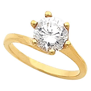 Round Diamond Solitaire Engagement Ring 14k  ( 1 Ct, I-J Color, VS Clarity GIA Certified)
